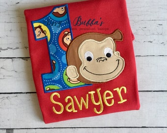 Personalized Curious George Appliqué, curious george birthday shirt, monkey, man with the yellow hat