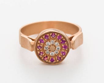 Art Deco Engagement Ring, Sapphire Engagement Ring, 18K Gold Ring, Alternative Engagement Ring, Diamond Engagement Ring, Halo Engagement
