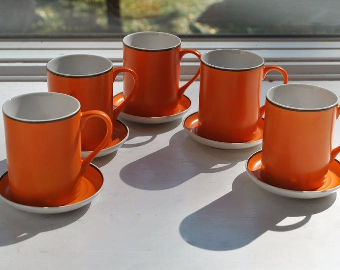 Lagardo Tackett Orange Espresso Cup Saucer Set 1960's MCM Schmid Porcelain