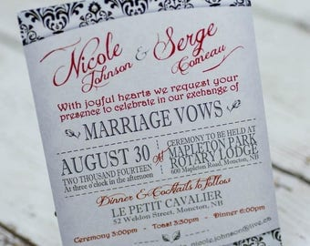 Damask wedding invitations |  demask invites handmade in Canada by empireinvites.ca