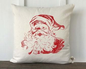 Farmhouse Christmas Pillow CoverSanta Christmas Pillow, Decorative Pillow, Custom Couch Pillow, Vintage Santa Graphic Surprise Santa RED