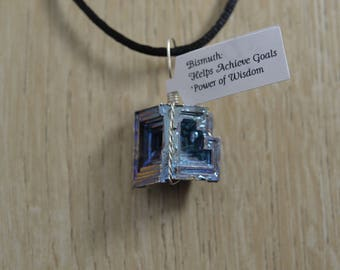 Bismuth Silver Colored Wire Wrapped Pendant
