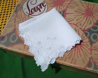 Antique French Linen Tissue Handmade White Cotton handkerchief Named Camille Scalloped #sophieladydeparis