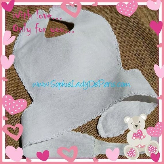 Victorian White Hemp Baby Bib French Handmade Lined #sophieladydeparis