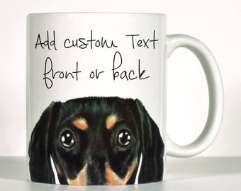 Dachshund Mug, Black OR Red Doxie, Dachshund Gift, Add Custom Text of Your Choice