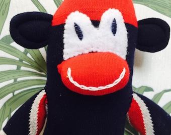 Union Jack sockmonkey, stuffed monkey, gift under 15, toy monkey, office companion