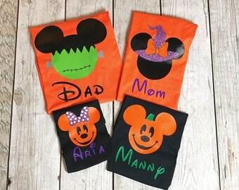Disney Halloween Family Matching Shirt Set, Disney Shirt, Mom, Dad, Brother, Sister, Pumpkin Shirt. Family Matching Mouse Set