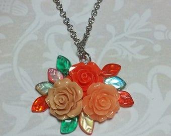 15% OFF SALE Peach Rose Garden Necklace