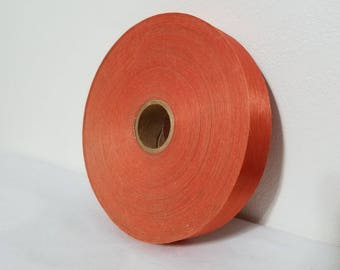 Orange Ribbon Large Roll Of Vintage Bow Making Supply Gift Wrap Vintage Craft Supply