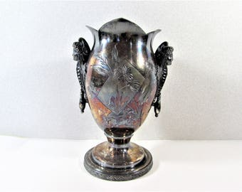Aurora Figural Vase Silver Plate Aesthetic Movement Exotic Woman