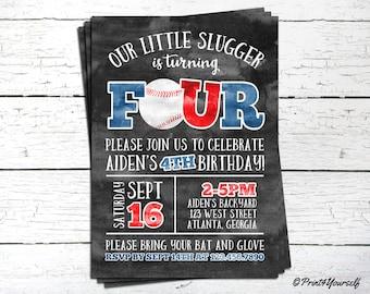 4th Birthday Baseball Invitation // Personalized Printable Little Slugger Baseball Fourth Birthday Photo Invitation // Little Slugger Invite