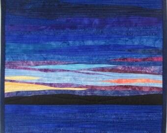 Landscape art quilt Sunset 53. Wall Hanging, Wall Quilt