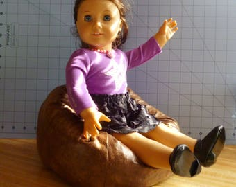 Leather look, distressed brown, doll Bean Bag Chair to fit American Girl size doll