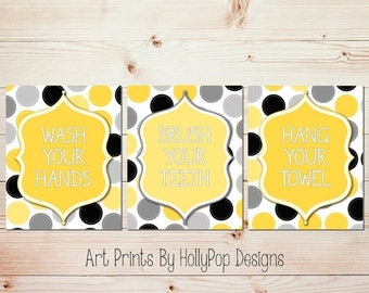 Yellow gray bathroom art Wash brush prints Childrens bathroom manners Bathroom rules wall art Quote prints Modern restroom wall art #1541
