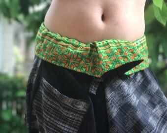 SR0070 Samurai pants with Unique Hilltribe fabric Wrap Around