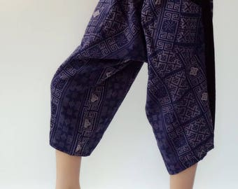 KD0019 Samurai Pants Black and White pants Handmade pants, Thick Smock Waist Low Crotch, elastic waistband  - Fits all !