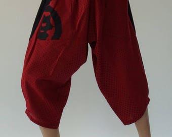 KD0043 Samurai Pants Black and White pants Handmade pants, Thick Smock Waist Low Crotch, elastic waistband  - Fits all !
