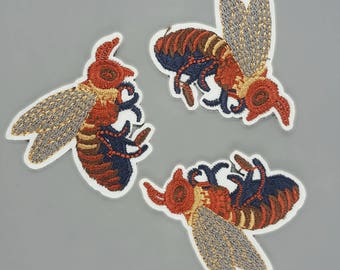 Embroidered Iron On Fly Insect Patches Appliques, Iron On Flies Patches