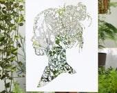 Laser-Cut Papercutting Artwork - Floral Woman Silhouette