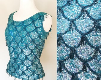 1950s Sequin Top / Vintage /Mermaid Scales / Aqua / Sequins / 1960s top / Beaded