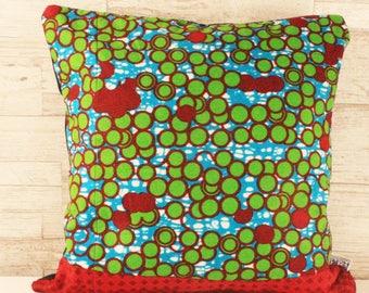 Block Print Throw Cushion - Turquoise Dots