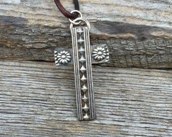 Sterling Cross Necklace . Handmade . Rustic . Hand Forged. Hand Stamped .Kingman Turquoise. Relics