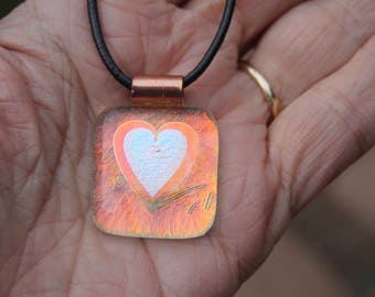 Heart necklace-heart pendant-Dichroic-Iridescent-Glass Heart pendant-irid-handmade glass heart-copper-heart-dichroic glass