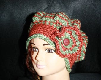 fancy hat, very warm, rust and green