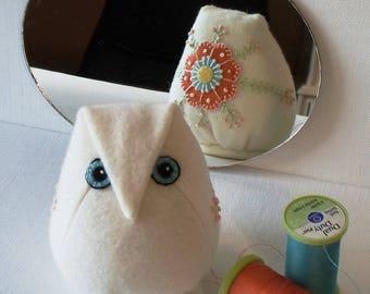 Handmade Owl Pincushion Felted Wool White, Orange & Blue Pincushion