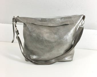 Bag  leather taupe Silver