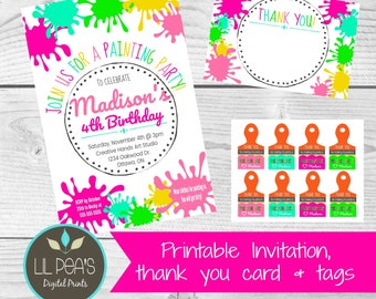 Painting Party Invitation, Painting Birthday Invitation, Art Party Invitation, Painting Birthday Party, Art Birthday Party Invitation