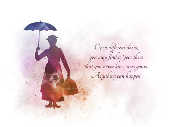 Art Print Mary Poppins Quote Illustration Disney Home Decor