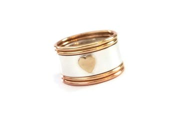 Heart Ring / Stacking Silver and Gold Ring / Valentines Ring / Wide Stacking Ring