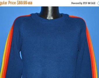 ON SALE 80s Blue Rainbow Striped Sweater Extra Small