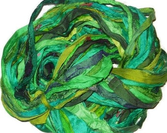 SALE Huge Premium  Sari Silk Ribbon,  Green  Mix