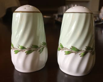 Vintage Minton Cheviot Green Salt and Pepper Shakers