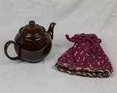 Knitted Teapot Cozy Cosie Maroon with green / gold varigated design Scandinavian Fair Isle Design Hand knitted