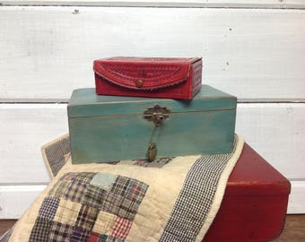 Vintage Red Leather Tooled Box