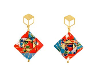 Origami Earrings; Origami Jewelry, Origami Jewellery; Origami; Paper Jewelry; Japanese Paper; Japan; Paper Earrings; Gift for Her; Paper