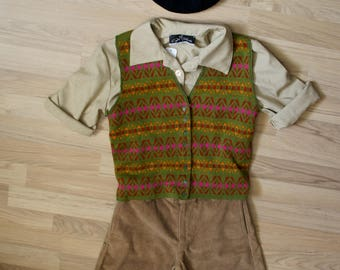 Short child vintage caramel brown corduroy.  1940s style