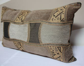 Brown pillow cover, Reflex tan bow tie pillow cover, swavelle fabric, brown gold pillow