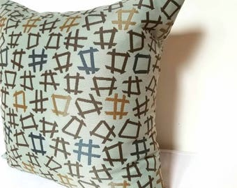 tic tac toe pillow cover, midcentury modern pillow,  beige brown pillow cover, modern pillow cover, Maharam pillow