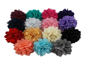 """You Pick Colors - 2"""" Felt Carnation Flowers - Just the Flower - Craft Supply - FCF"""