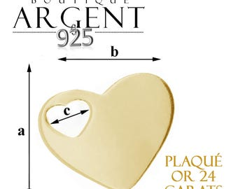 Sterling Silver 925 pendant plque or 17.6 1 X 5.7 mm heart shaped with heart hole
