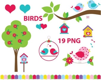 Birds clipart, bird houses clipart, love birds, bird, birds, heart, tree, welcome spring, spring, pink, blue, love birds, tweet