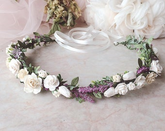 Flower crown Boho wedding Lilac crown Floral crown Flower head piece Flower hair accessories Wedding crown Lavender crown Festival crown