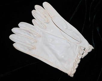Vintage Cream Kidskin Gloves with Braided Cuff, Size 6 1/4, c. 1960