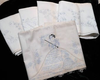 10 Never Used White Cotton Muslin Stenciled Pattern Pillowcases to be Embroidered, c. 1940