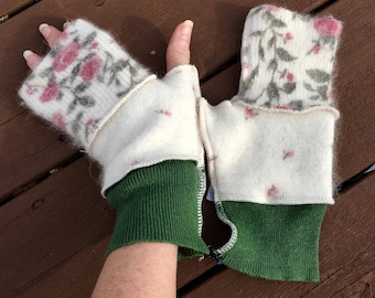 Ivory Lambswool N Roses N Green Upcycled Felted Wool Fingerless Mittens