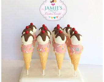 Double Scoop Ice cream cone cake pops